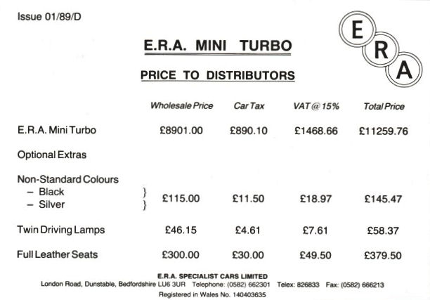 Distributors Price List