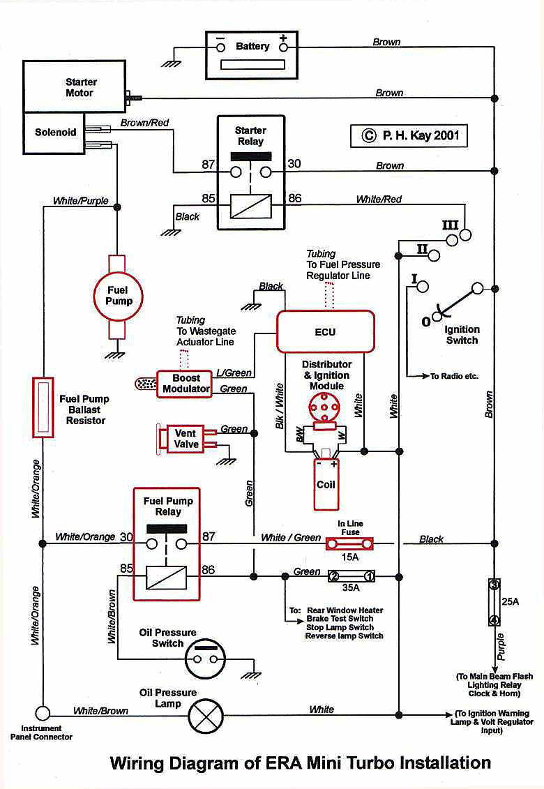 era mini turbo wiring diagram therefore remove the battery supply from the fuel pump and return the near chassis connection to the oil pressure lamp the latter then illuminating